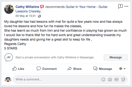 Kids Guitar Lessons testimonial for our Guitar Lessons In Crawley